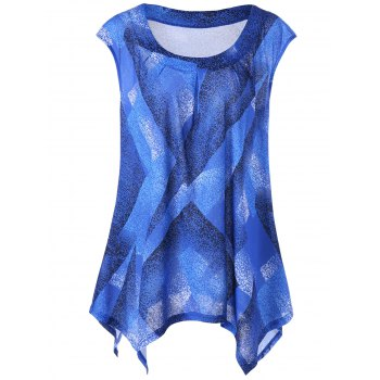 Plus Size Graphic Asymmetrical Tank Top - BLUE XL