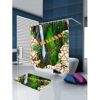 Gorge Bridge Scenery Fabric Bath Shower Curtain - GREEN GREEN