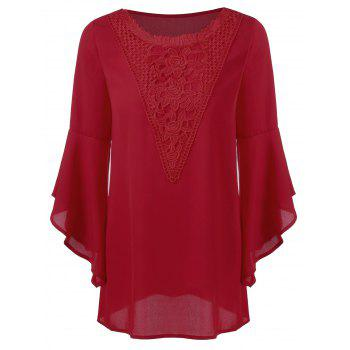 Lace Trim Bell Sleeve Longline Blouse