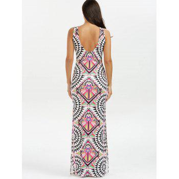 Geometric Patchwork Print High Slit Maxi Dress - multicolor multicolor