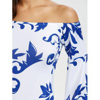 Casual Off The Shoulder Print Bodycon Dress - Blanc L