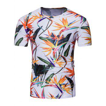 Short Sleeve 3D Colorful Flowers Print T-Shirt