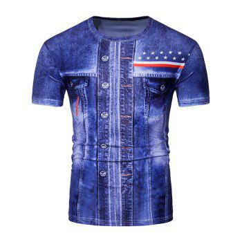 3D Jean and Number Print Short Sleeve T-Shirt