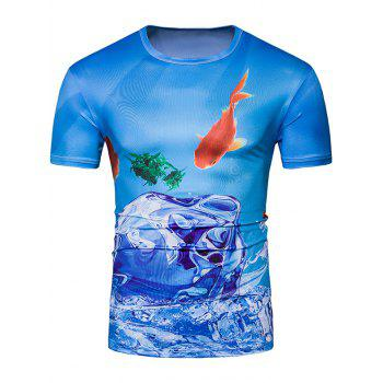 Short Sleeve 3D Fish and Ice Print T-Shirt