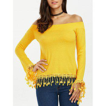 Tassel Boat Neck Long Sleeve Top