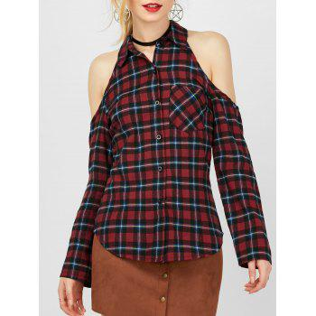 Buy Plaid Button Cold Shoulder Shirt CHECKED