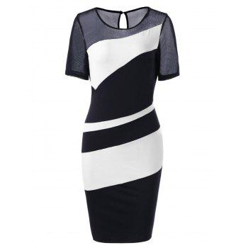 Mesh Panel Bodycon Bandage Midi Dress
