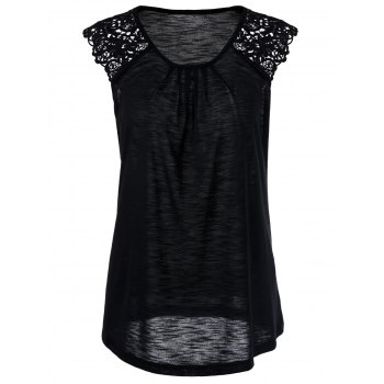 Lace Insert Sleeveless T-Shirt