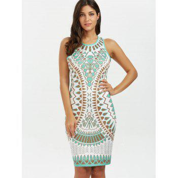 Geometric Mini Tank Bodycon Dress - BLUE GREEN L