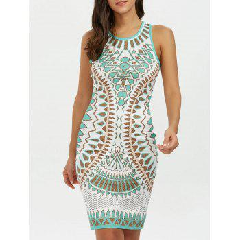 Geometric Mini Tank Bodycon Dress - BLUE GREEN XL