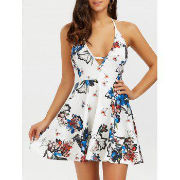 Halter Backless Floral Short Skater Dress - WHITE 2XL