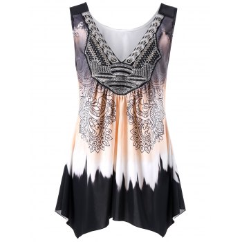 Plus Size Ombre Asymmetric Flowy Tank Top