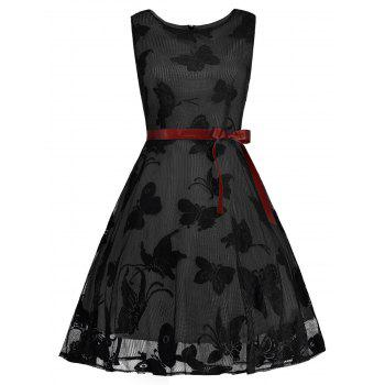 Plus Size Butterfly Jacquard A Line Short Formal Dress - BLACK AND GREY BLACK/GREY