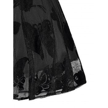 Plus Size Butterfly Jacquard A Line Short Formal Dress - BLACK/GREY BLACK/GREY