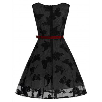 Plus Size Butterfly Jacquard A Line Short Formal Dress - BLACK/GREY 5XL