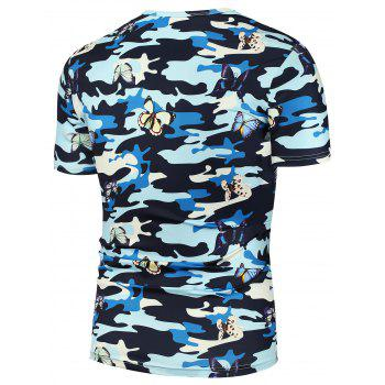 3D Butterfly Camouflage Print T-Shirt - CAMOUFLAGE CAMOUFLAGE