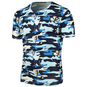 3D Butterfly Camouflage Print T-Shirt