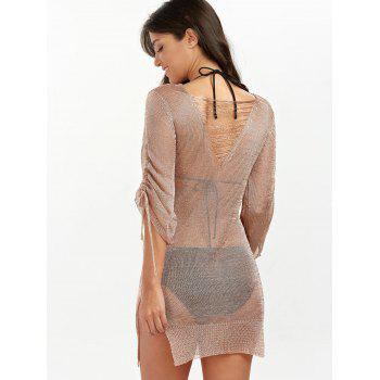 Slit Short Club Dress with Lace Up - BRONZE COLORED L