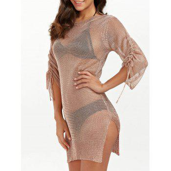 Slit Short Club Dress with Lace Up - BRONZE-COLORED BRONZE COLORED