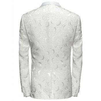 Châle One Button Lapel Blazer Jacquard - Blanc L