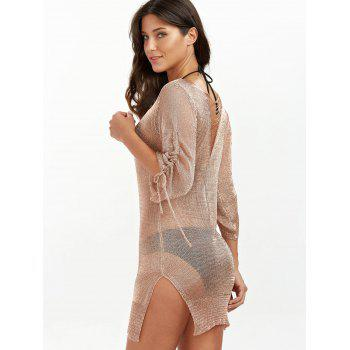 Slit Short Club Dress with Lace Up - BRONZE COLORED S