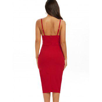 Backless Slip Cut Out Midi Bodycon Dress - RED RED