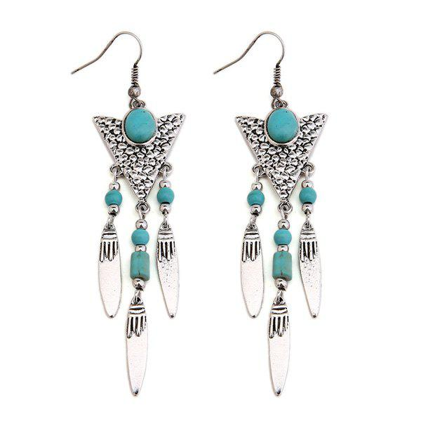 Faux Turquoise Triangle Fringed Drop Earrings - SILVER