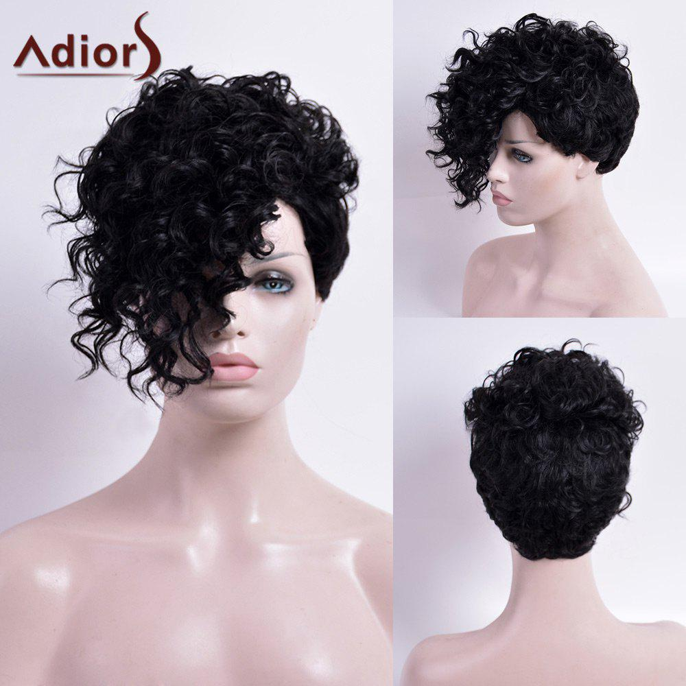 Adiors Short Capless Synthetic Curly Wig - BLACK