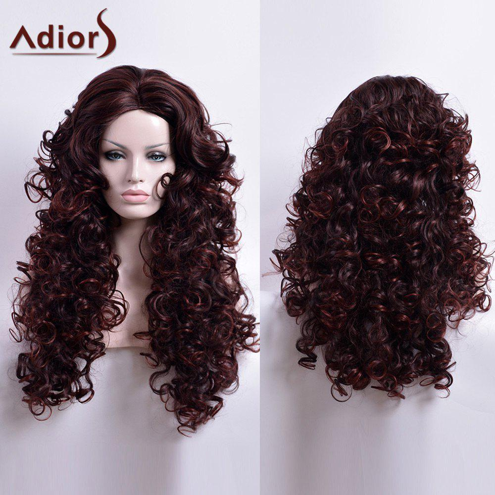 Adiors Long Curled Middle Parting Capless Synthetic Wig - DARK AUBURN