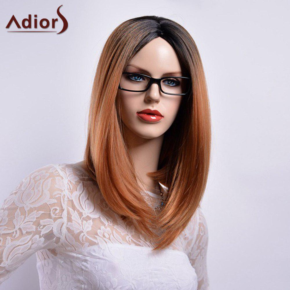 Adiors Long Straight Centre Parting Gradient Dark Root Bob Synthetic Wig centre speaker