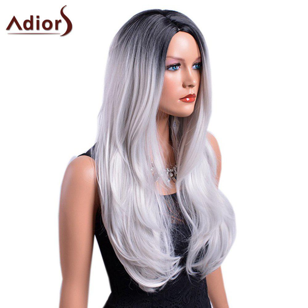 Adiors Long Gradient Centre Parting Dark Root Slightly Curly Synthetic Wig centre speaker