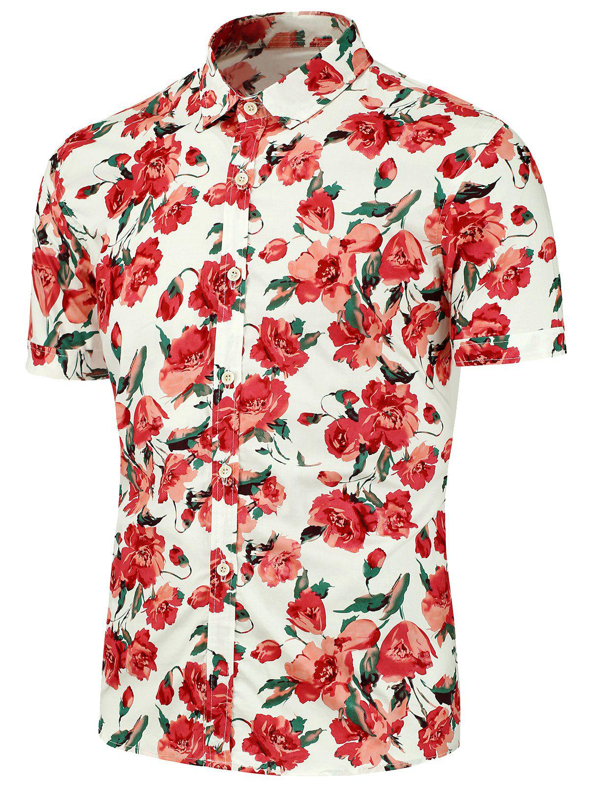 Floral Printed Short Sleeves Beach Shirt - RED 2XL