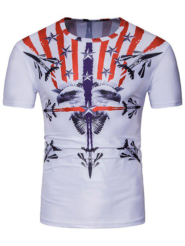3D Symmetrical Warplanes Eagle Stripe Print T-Shirt