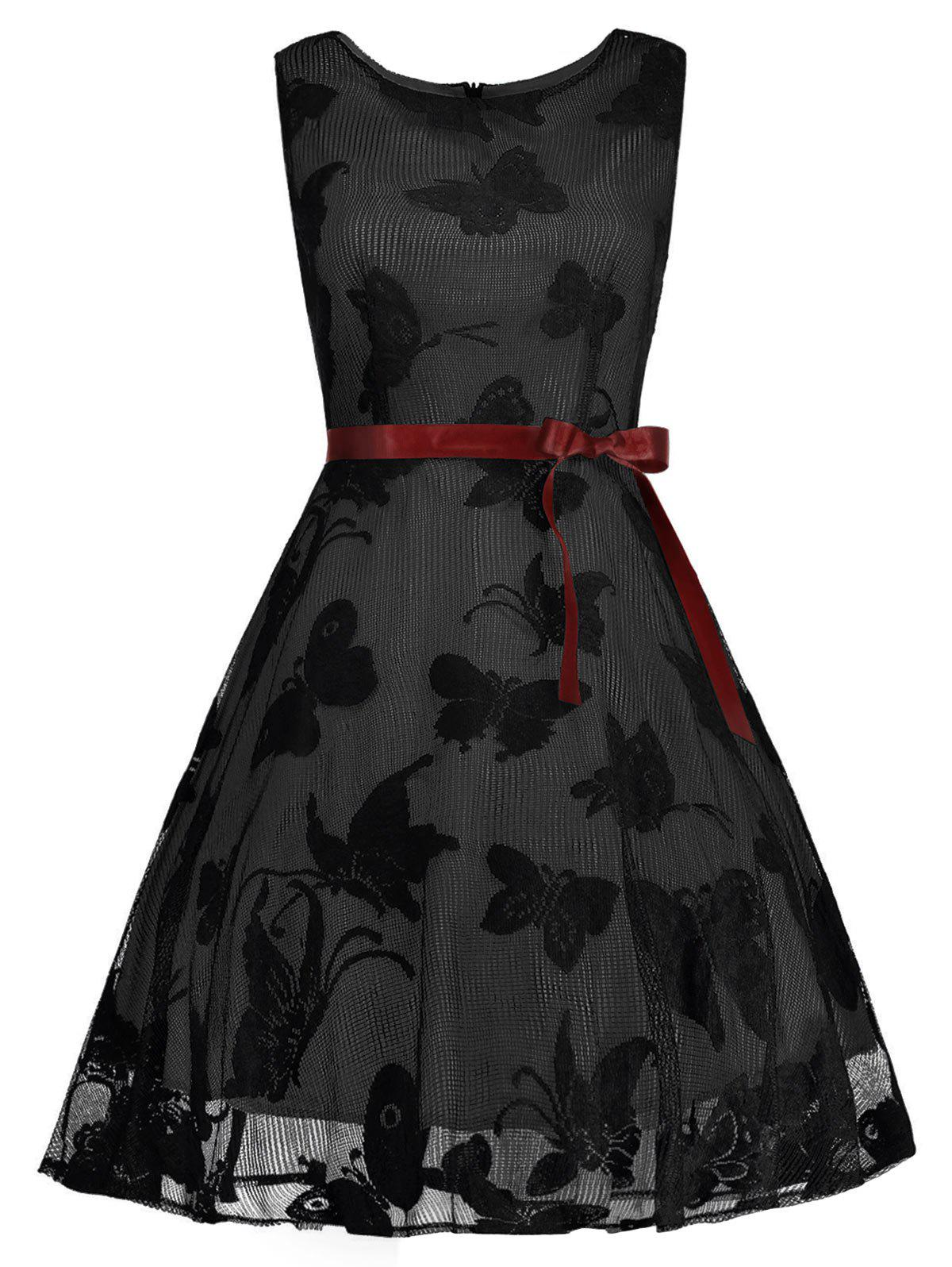 Plus Size Butterfly Jacquard A Line Short Formal Dress - BLACK/GREY 2XL