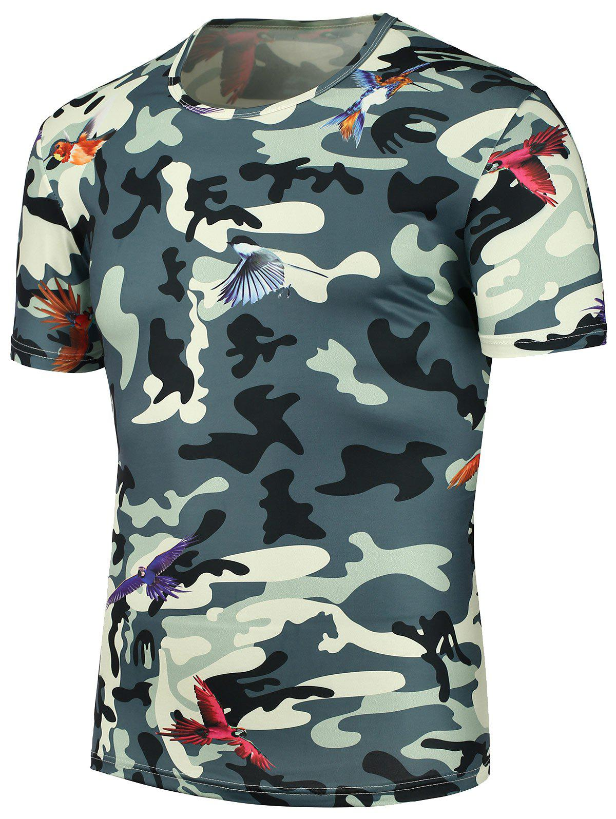 3D Camouflage Fly Bird Printed T-Shirt - CAMOUFLAGE 3XL