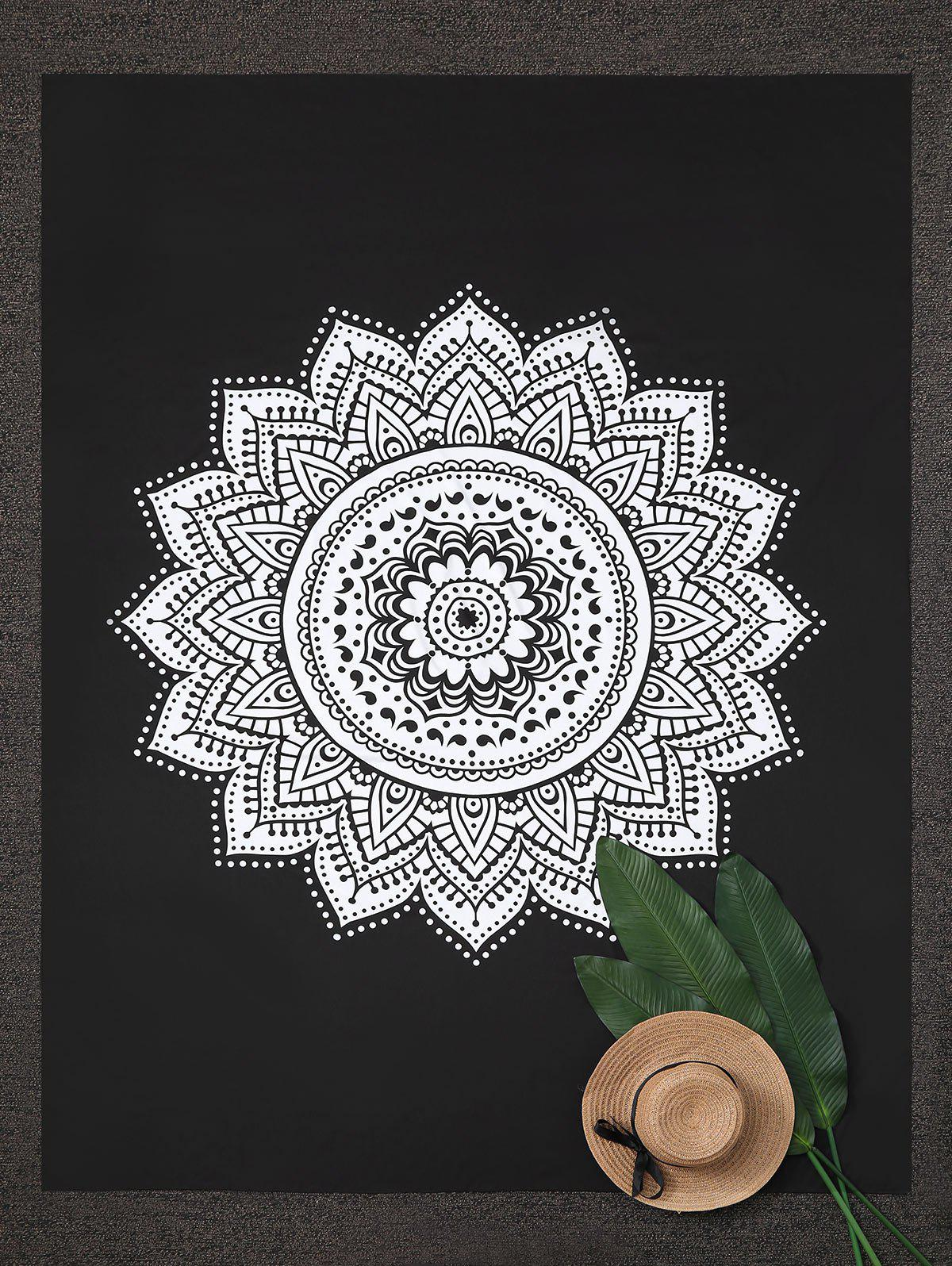 Rectangle Mandala Lotus Print Beach Throw - BLACK ONE SIZE