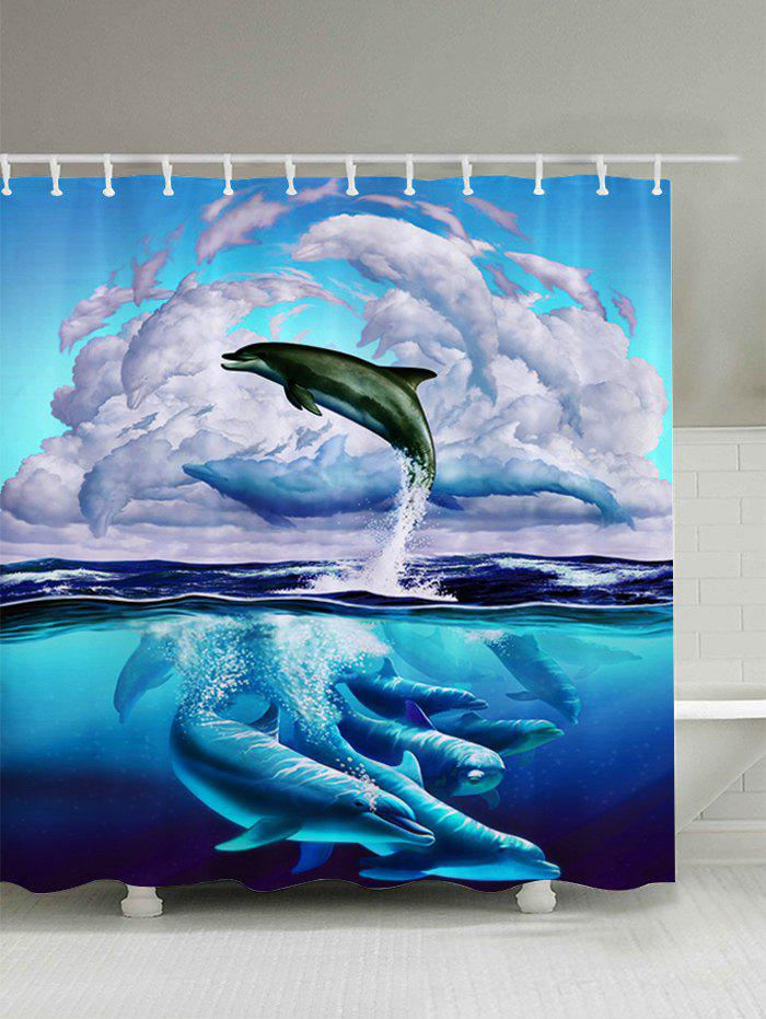 3D Dolphin Leaping Print Bathroom Shower Curtain - BLUE W71 INCH*L79 INCH