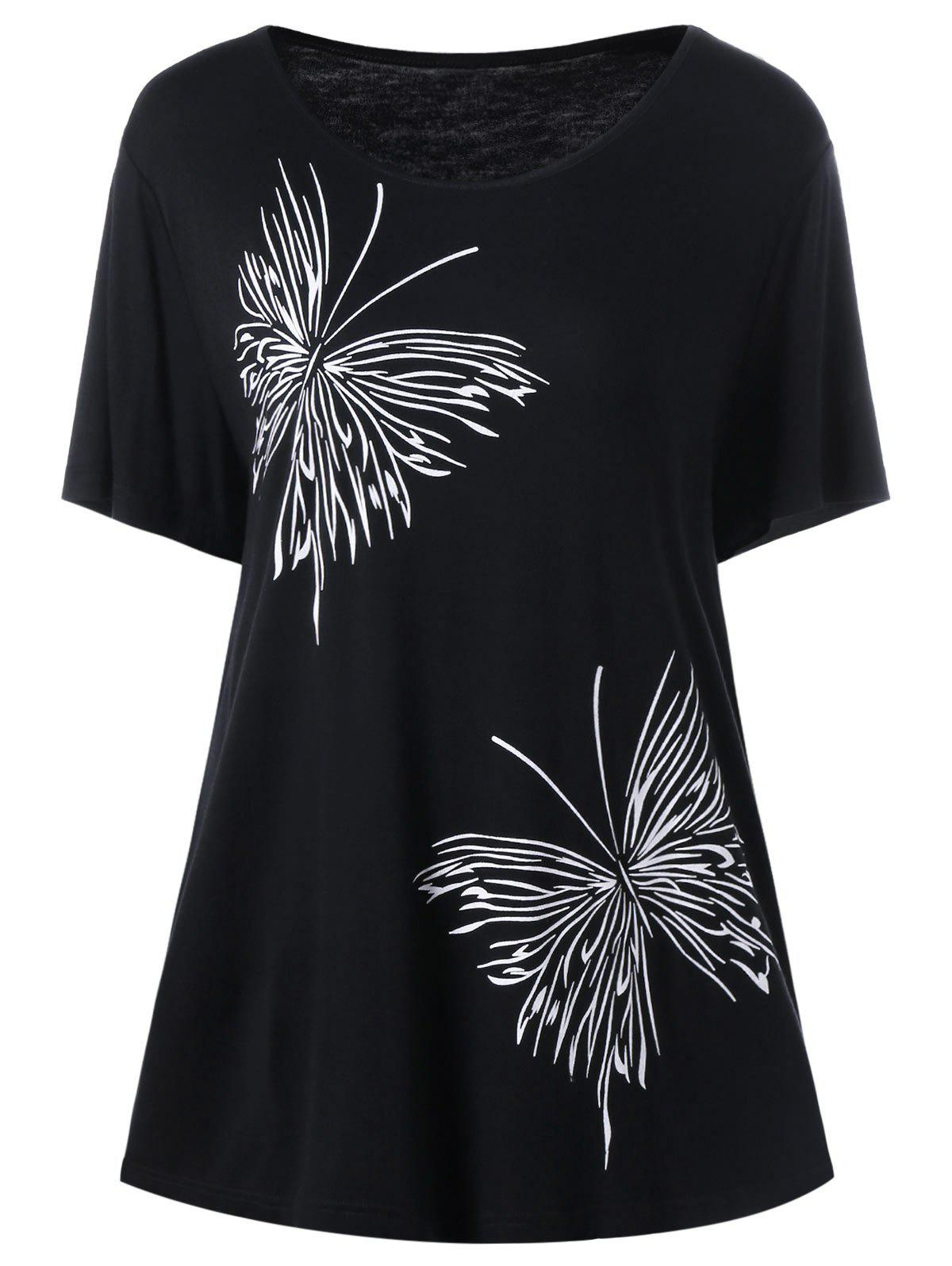 Plus Size Butterfly Graphic T-Shirt - BLACK XL