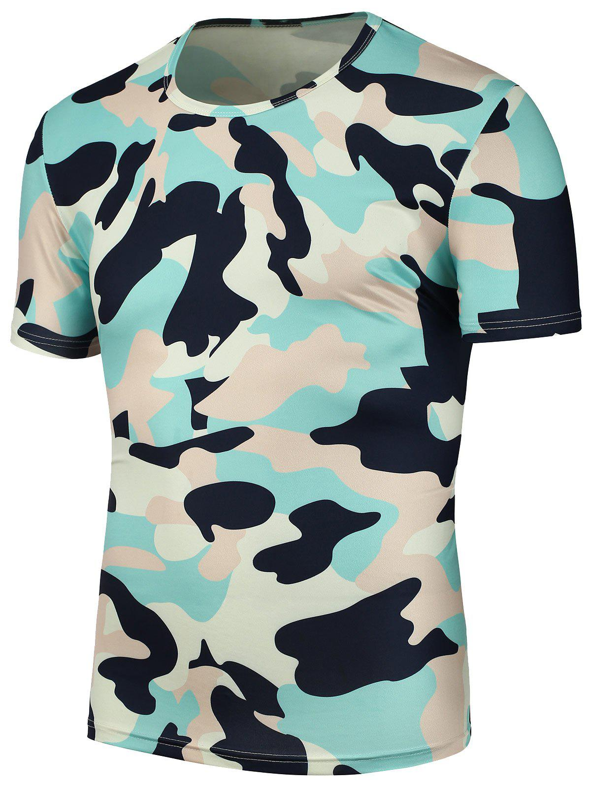Camouflage Print T Shirt - CAMOUFLAGE 3XL