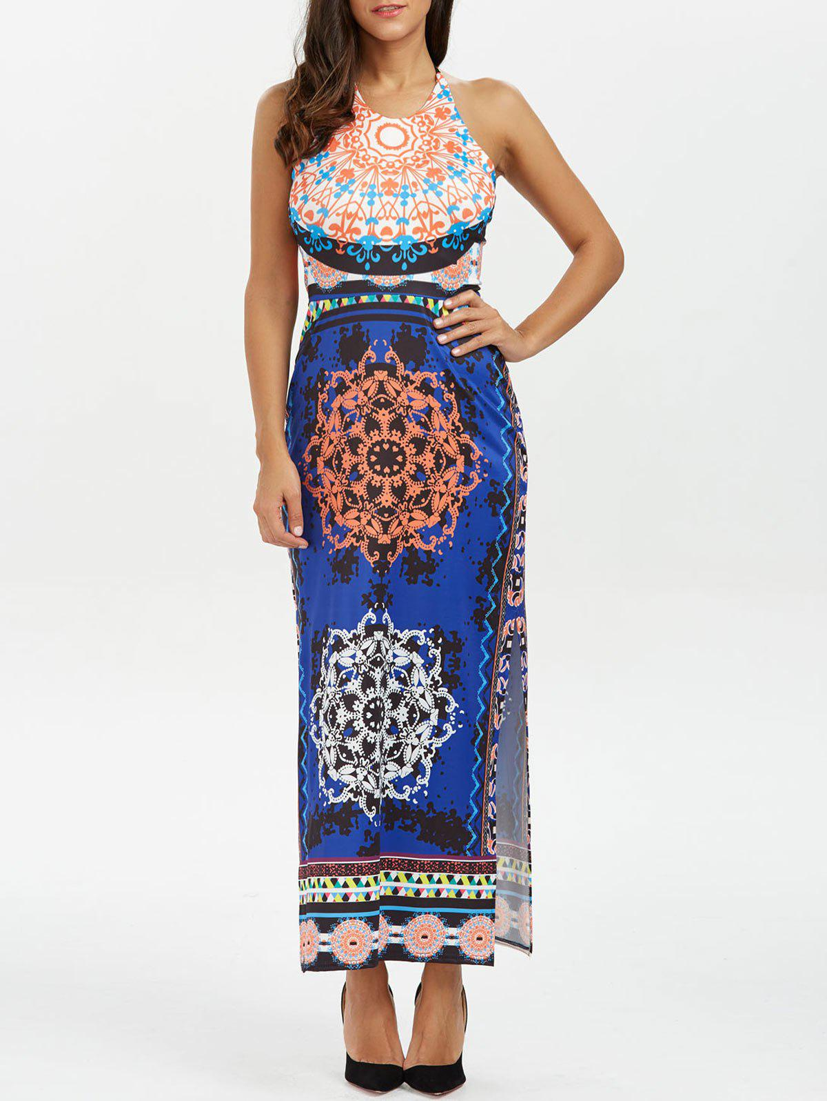 Backless Halter Neck Tribal Print Boho Long Dress - DEEP BLUE XL