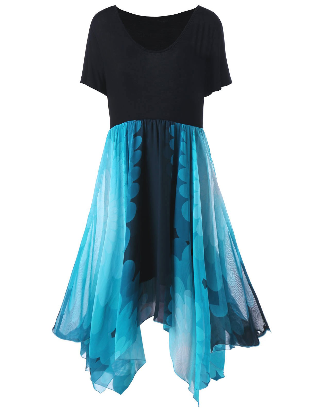 Plus Size High Waist Handkerchief Dress - BLUE/BLACK ONE SIZE