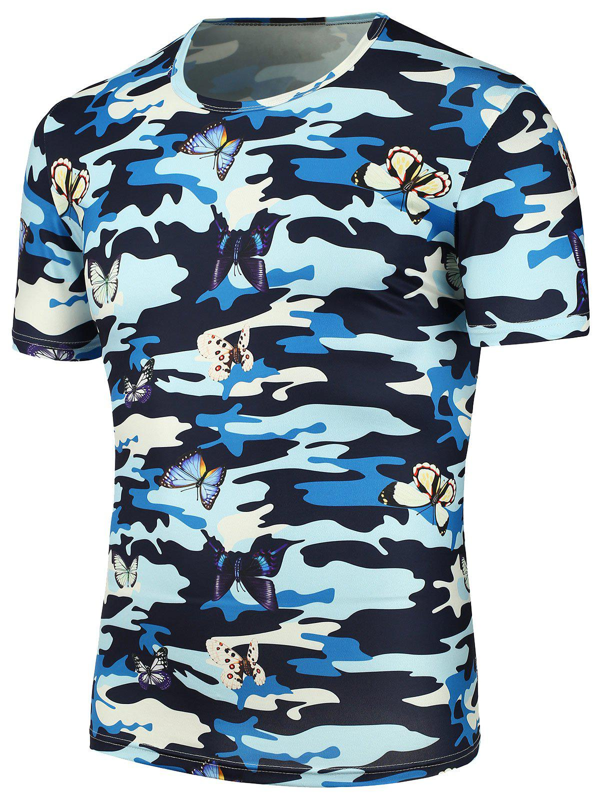 3D Butterfly Camouflage Print T-Shirt - CAMOUFLAGE XL