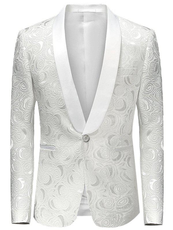 Shawl Lapel One Button Jacquard Blazer - WHITE L