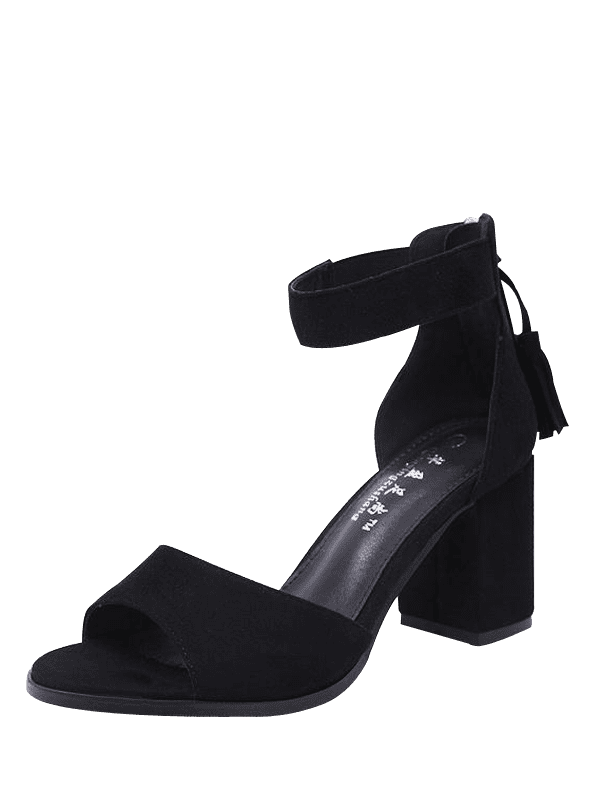 Tassels Chunky Heel Sandals - BLACK 38