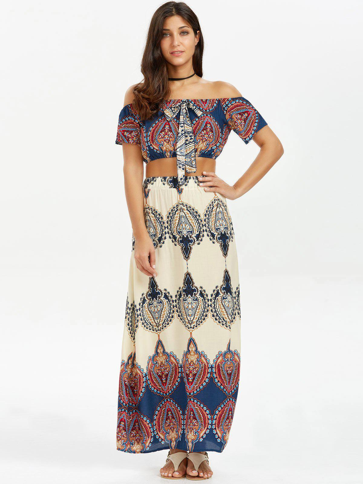 Off The Shoulder Print Two Piece Dress - COLORMIX S