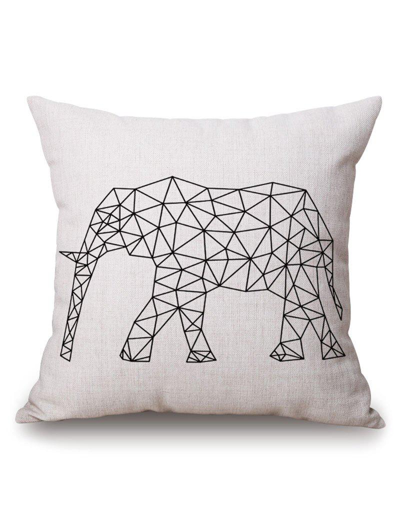 Elephant Geometric Printed Pillow Case handpainted pineapple and fern printed pillow case