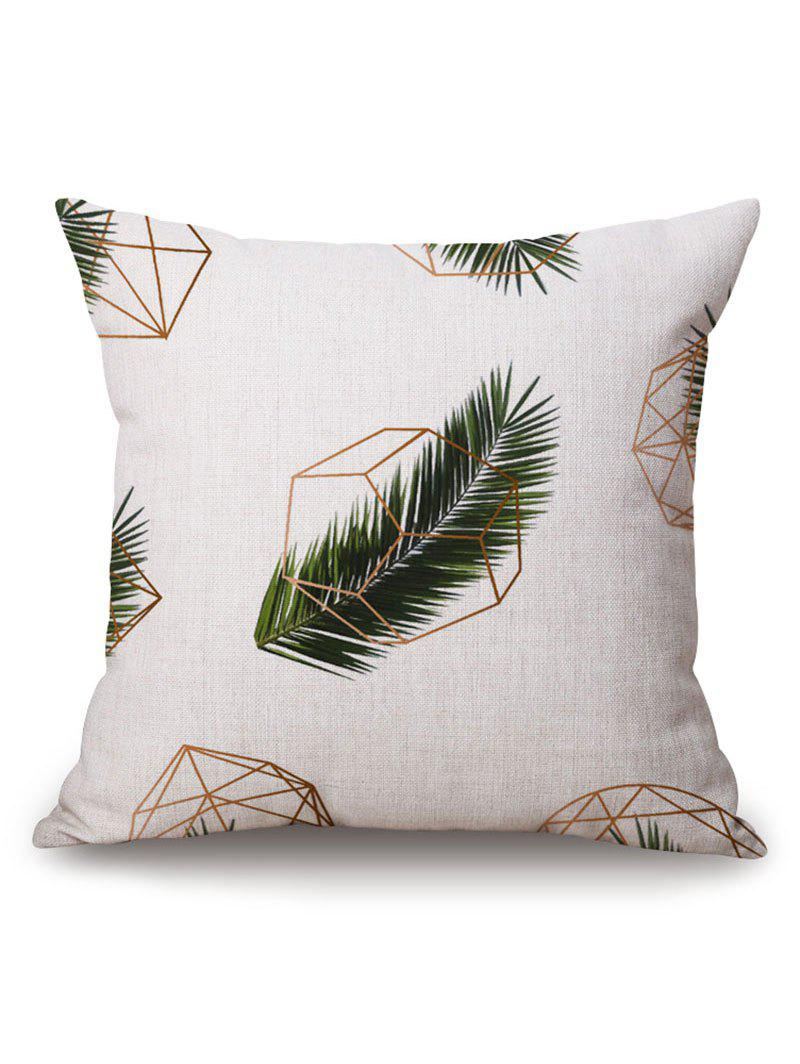 Geometric Leaf Print Pillow Case - OFF WHITE 45*45CM