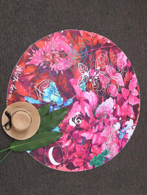 Round Shape Floral Beach Throw - COLORMIX ONE SIZE