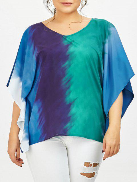 Plus Size Tie Dye Butterfly Sleeve T-Shirt - COLORMIX 3XL