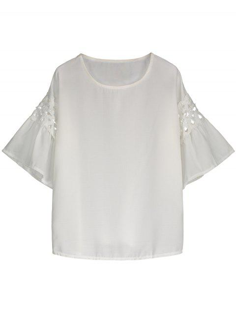Crochet Flare Sleeve High Low Blouse - WHITE 2XL